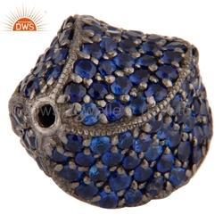 Sterling Silver Pave Blue Sapphire Beads