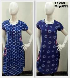 Indigo Printed Kurta With Embroidery