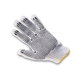 Seamless Cotton Knitted with PVC Dotted Gloves