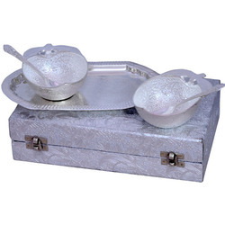 Brass Antique Glossy Silver Plated Bowl Set