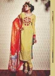 Designer Yellow Churidar Suit