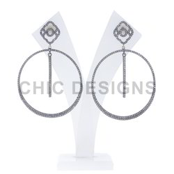 Diamond Pave Dangle Earrings