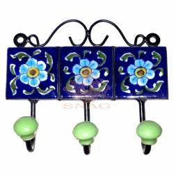 Blue Pottery Key Hanger