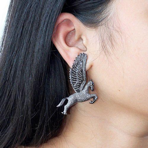 Pave Diamond Horse Earrings