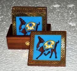 Wooden Tea Coaster With Ceramic Tile