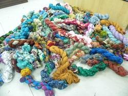 Printed Sari Silk Chiffon Ribbons In 100 Gram Skeins