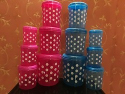Plastic Polka Dotted Printed Container Set