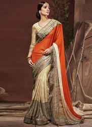Designer Orange Saree