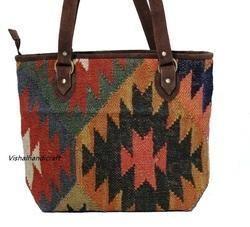 Indian Wool Jute Rug Handbag
