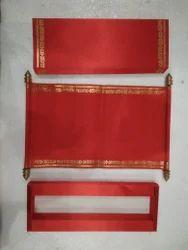 Red Satin Scroll Wedding Card
