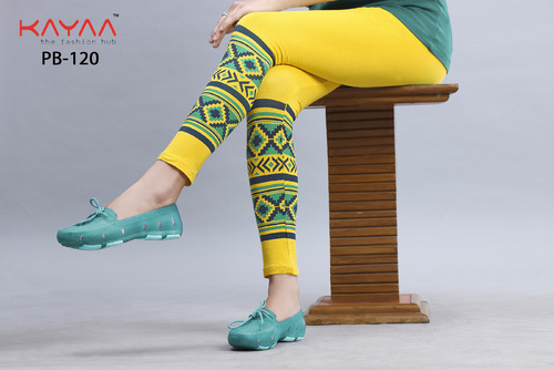 Yellow With Green Bottom Printed Leggings