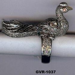 Peacock Shape Silver Diamond Victorian Ring