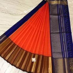 Silk Cotton Long & Shot Border Saree