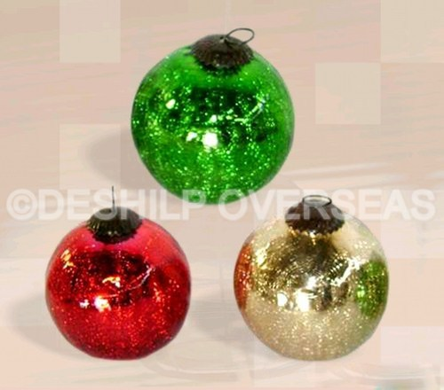 Silver Christmas Ornaments Crackle Christmas Ornaments Manufacturer From Firozabad