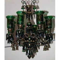 Green Color Handpainted Chandelier