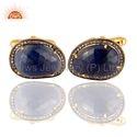 925 Silver Blue Sapphire Gemstone Cufflinks