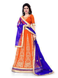 Orange Georgette Heavy Embroidered Lehenga