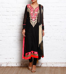 Black Embroidered Designer Cotton Silk Churidar Suit