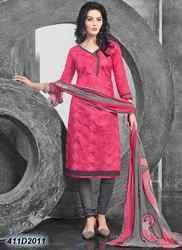 Designer Pink and Grey Churidar Suit