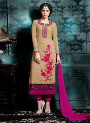 Designer Pink and Beige Churidar Suit