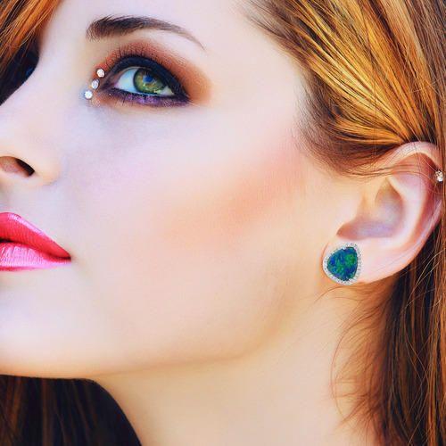 Glorious Opal Gold Studs Earring