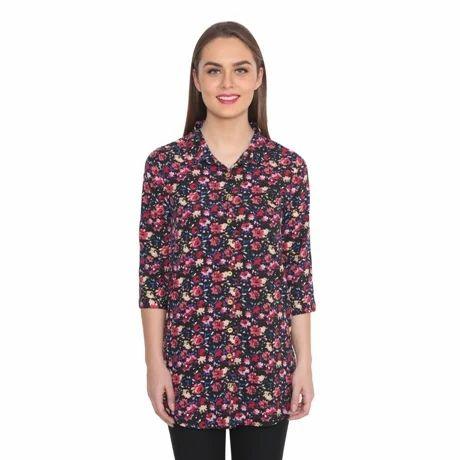 Floral Shirt Crepe Tunic
