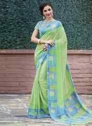 Spring Green Printed Saree