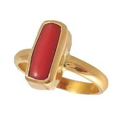 Designer Coral Gemstone Ring