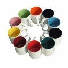 6 Oz Polymer Two Tone Mug - Neon Pink
