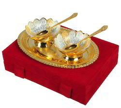 VESPL Silver And Gold Plated Brass Bowl