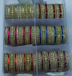 Gold Silver Colored Stone Wedding Bangles