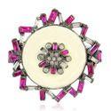 Enamel Ruby Gemstone Cocktail Ring