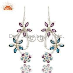 925 Silver Multi Gemstone Earrings Jewelry
