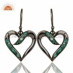 Heart Shape Emerald Gemstone Silver Earrings