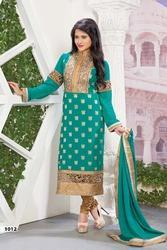 Dark Teal Green Faux Georgette Jacquard Churidar Kameez