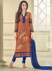 Designer Copper and Blue Churidar Suit