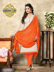 Designer Orange and Off White Churidar Suit