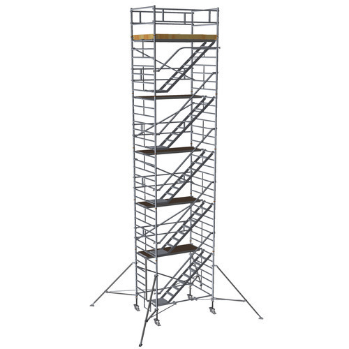 double width aluminium mobile tower scaffolding with stairway