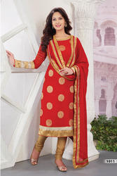 Red Faux Georgette Jacquard Churidar Kameez