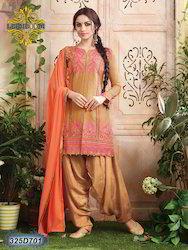 Salwar Suit with Orange Dupatta