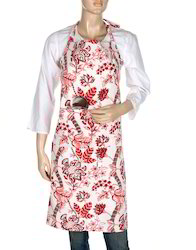 Multicolor Leaves Printed Cotton Kitchen Aprons For Women