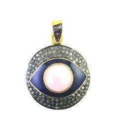 Eye Pave Diamond Pink Opal 925 Sterling Silver Charm Pendant