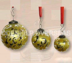 Yellow Silver Christmas Ornaments
