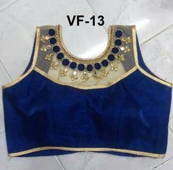 Blue Embroidered Banglori Silk Stitched Blouse