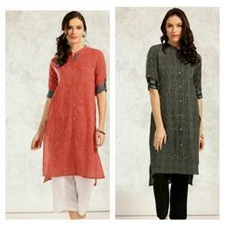 Cotton Printed Kurta With Ikkat Patch