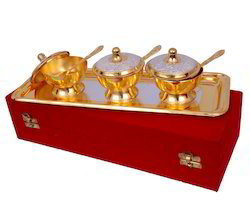 VESPL Silver Gold Plated Mouth Freshener Bowl Set