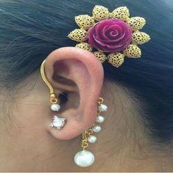 Golden Flower Ear Cuff