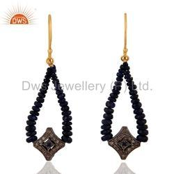Blue Sapphire Beads Pave Diamond Earrings