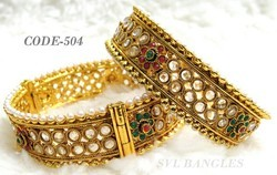 India Latest Gold Plated Polki Bangles