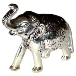 White Metal Elephant Statue